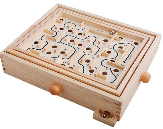 Wooden Labyrinth With Steel Marble Large Style Balance