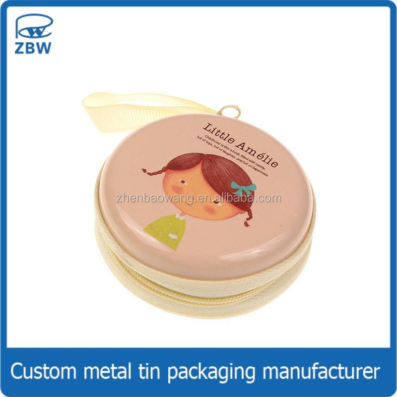 Colored round souvenir tins zipper tin box packaging for promotion