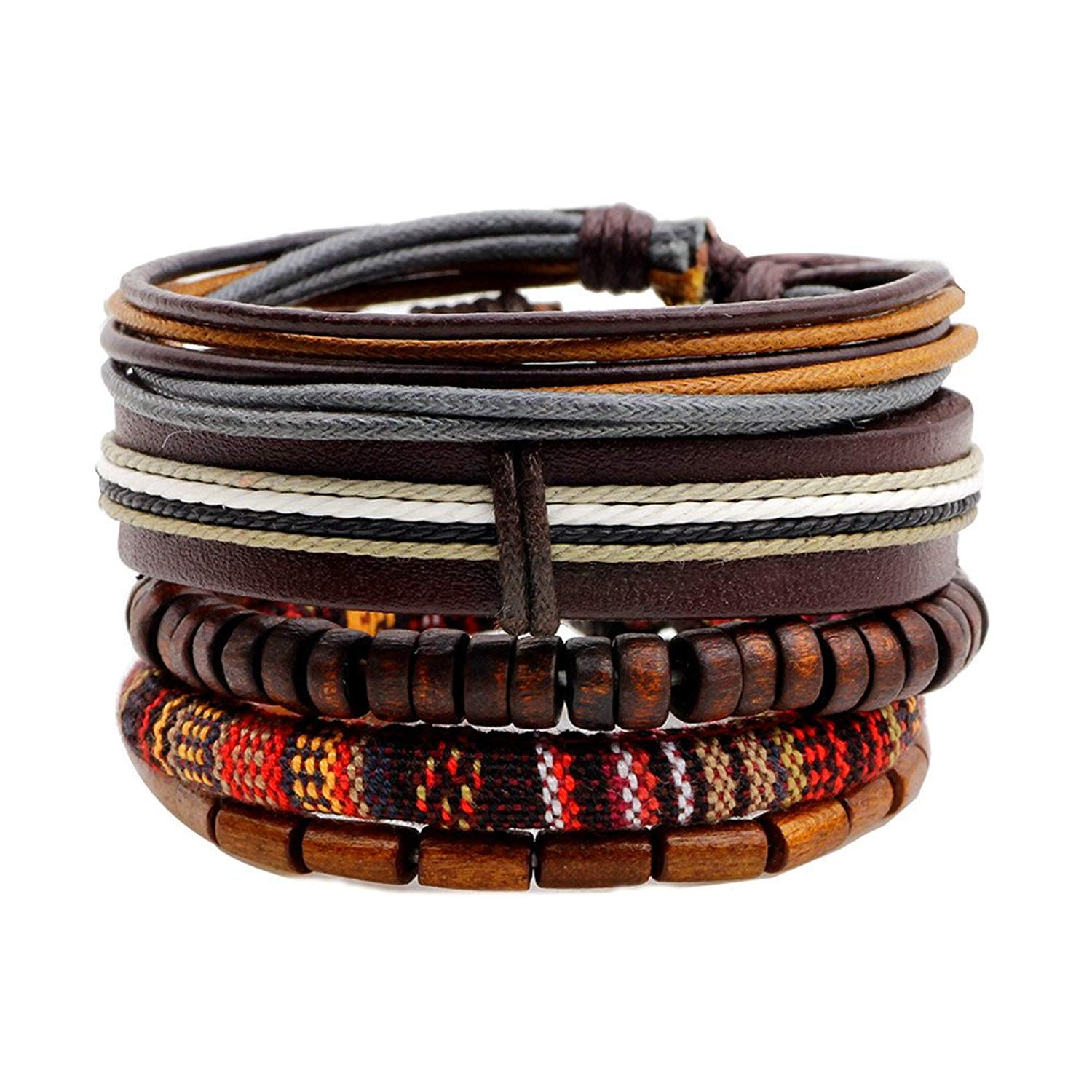 CF 5Pcs Braided Leather Wood Beads Multi Color Ropes Cuff Wrap Bracelet Bohemian for Men Women Adjustable
