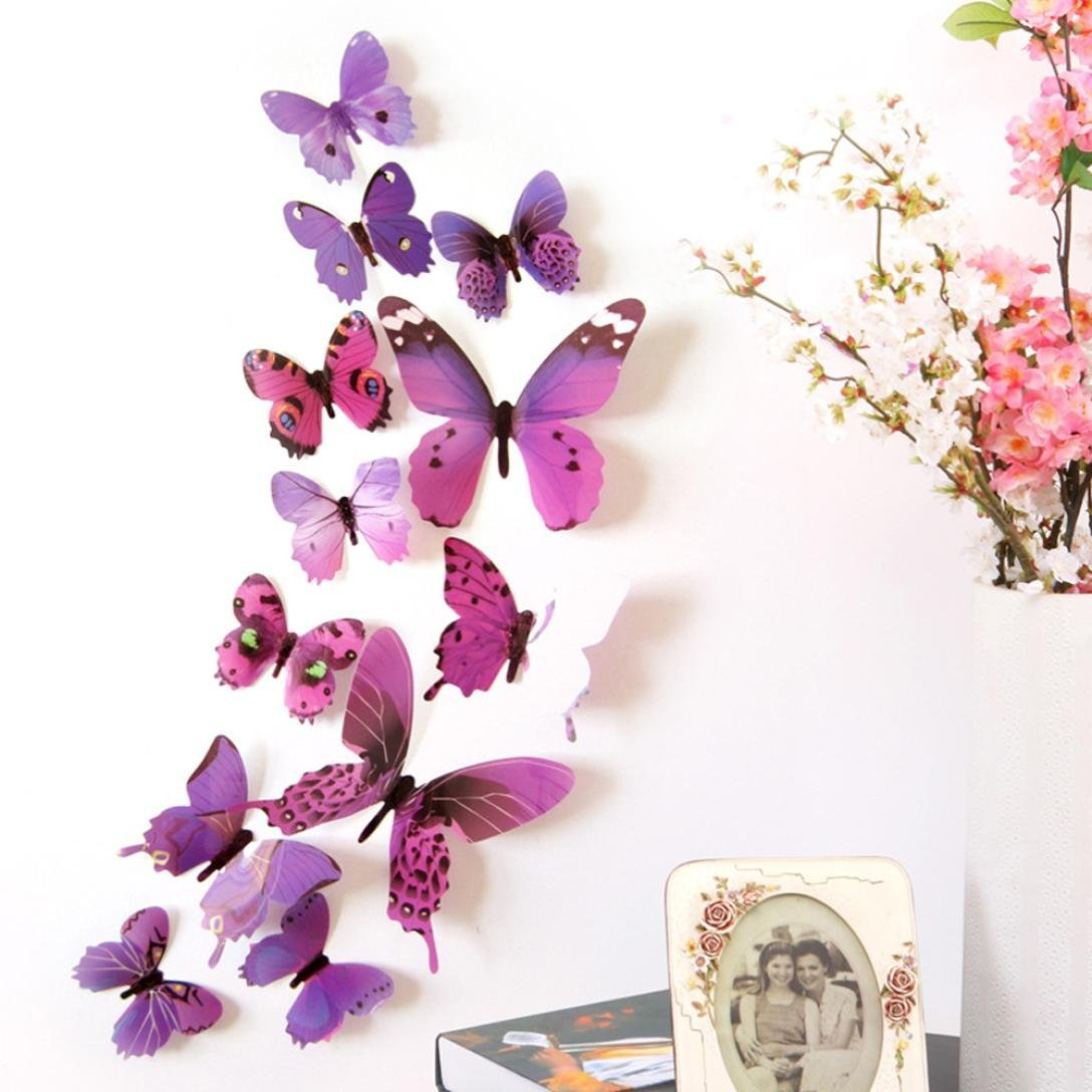 Wall Sticker, Bestpriceam 12pcs 3D Butterfly Rainbow Wall Stickers Home Decorations Decal (Purple)