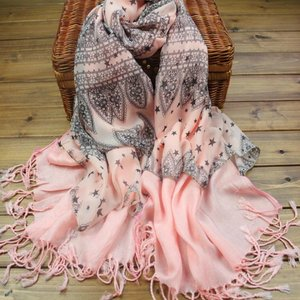 wholesale winter hot fashion woman knitted cashmere pink star scarf