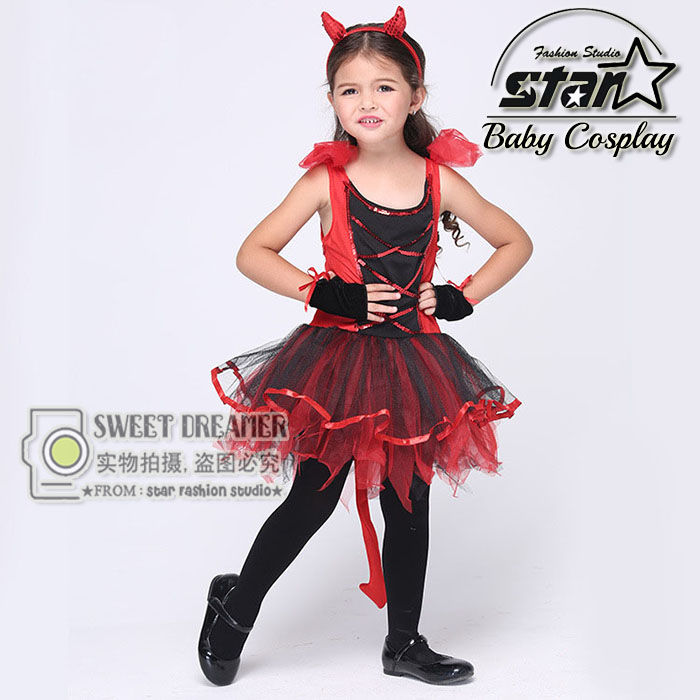 Baby Girl Red and Black Devil font b Dress b font Naughty Little Demon Party font
