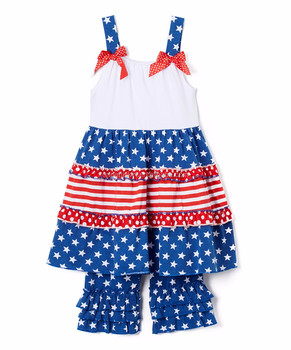 8d1bddc43b8 Blue star strap dress shorts set july 4th baby clothes wholesale  independence day kids wear boutique
