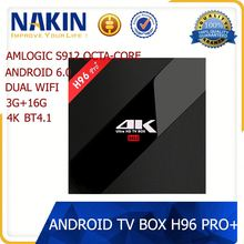 H96 Pro Plus Android 6.0 OS codi TV Box Amlogic S912 Tv Box Octa-Core 3G/32G IPTV Receiver