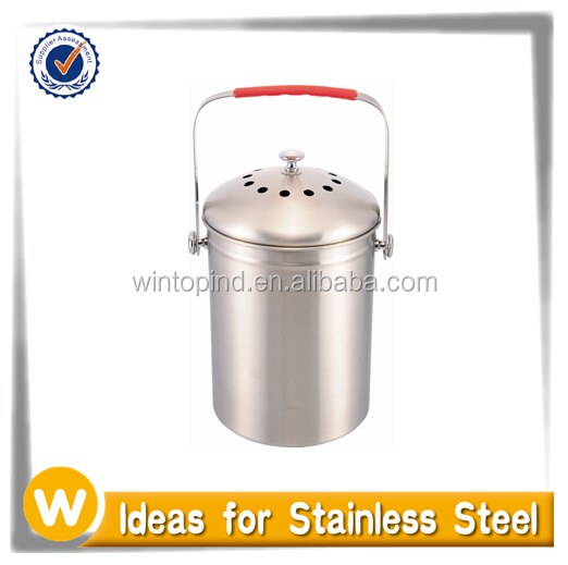 1.0 Gallon Stainless steel kitchen compost keeper with Charcoal Filter