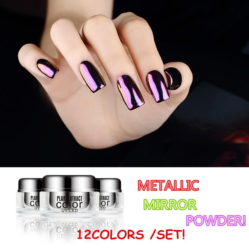 Nagel Chrom Pigment Pulver Magie Metallic Spiegel Pulver Fu00fcr Nagel Farbe-Kristallpulver-Produkt ...