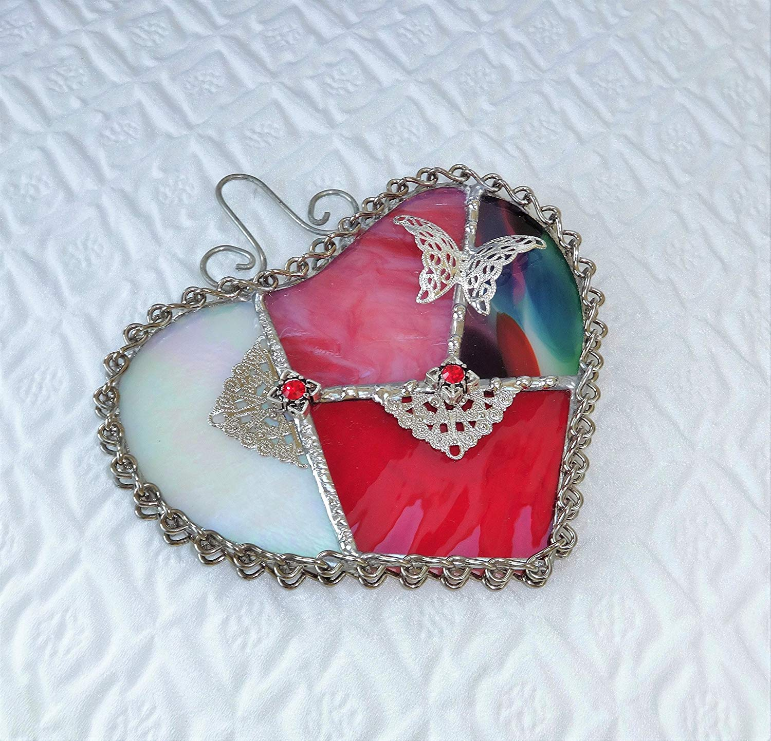 Pink and Red Stained Glass Valentine Heart Butterfly Suncatcher