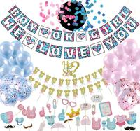 Umiss, Gender Reveal Party Supplies, Baby Shower Decorations kit, Boy or Girl We Love You Banner Confetti Photo Props
