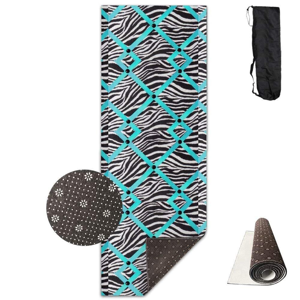 QNKUqz Zebra Print With Turquoise Ribbon Deluxe Yoga Mat Aerobic Exercise Pilates