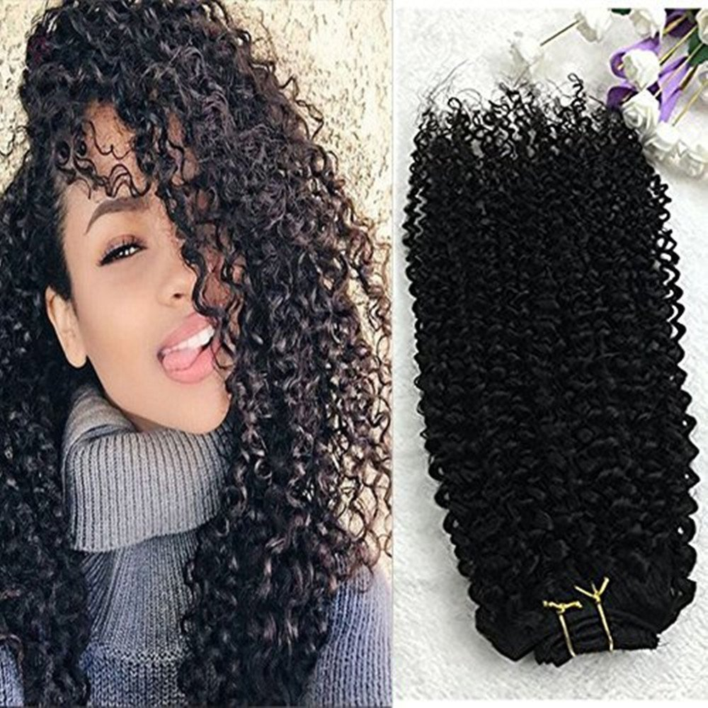 "Full Shine 24"" 7 Pcs 100g Curly Hair Clip Ins For African Hair Extensions American Women Natural Hair Full Head Clip In Remy Human Hair Extensions Curly Black Remy Human Hair for Black Women"