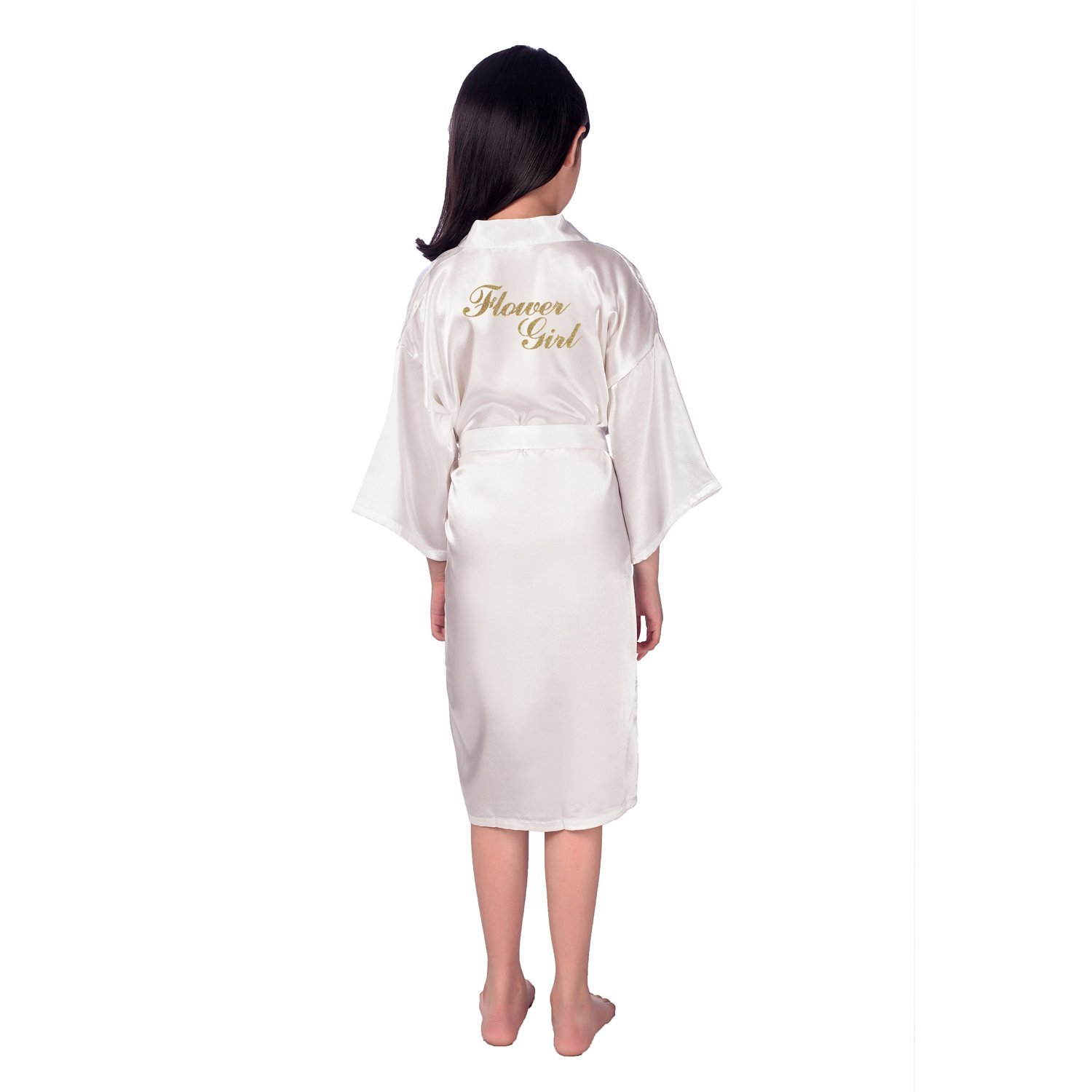 Get Quotations · Vogue Forefront Girls  Bridal Party Satin Kimono Robe with  Glitter Flower Girl 5709e15ba