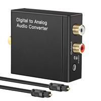 Hot Digital to Analog Audio Converter Optical Toslink Coaxial to RCA Audio Adapter AUX 3.5mm Jack Headphone with Optical Cable
