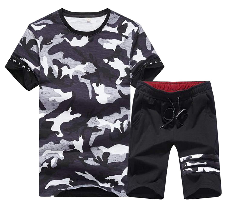JuJuTa Men T-Shirts Shorts Slim Fit Short Sleeve Comfortable Camouflage Outfit Set