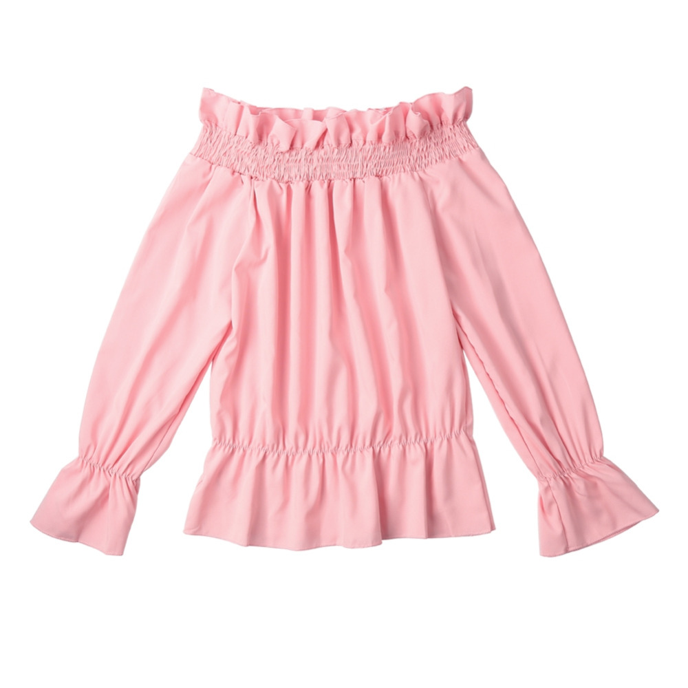 Fashion Women Off Shoulder Crop Top Ruched Long Sleeves Elastic Waist Cropped Loose Casual Top Blouse Pink