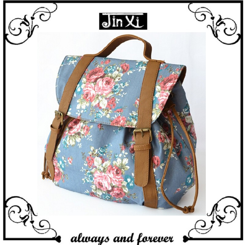 Fashion korean style backpack beautiful floral backpack for girl