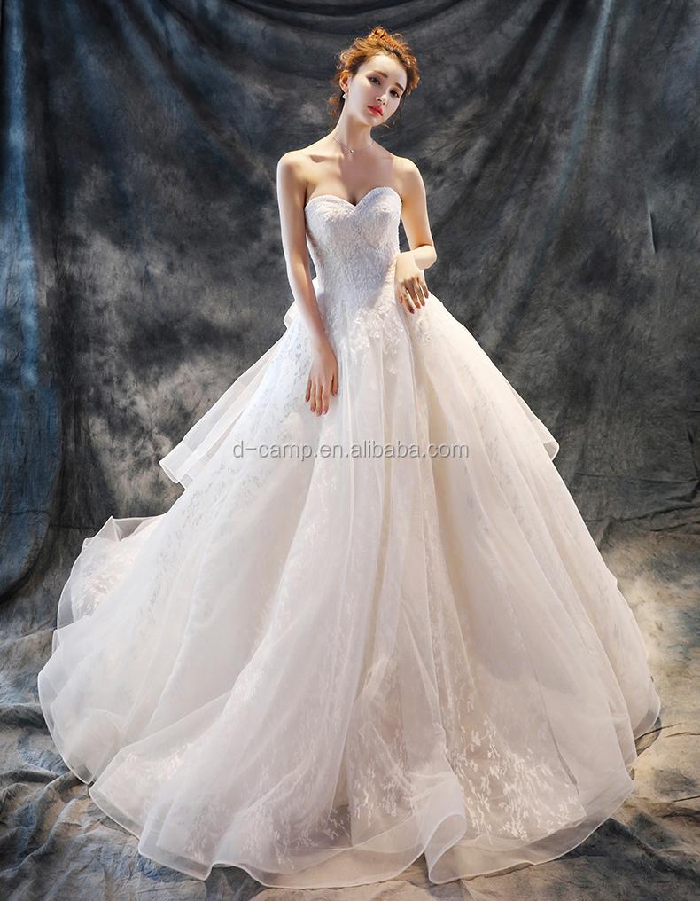 Wd151 Romantic Ball Gown Detachable Straps Saudi Arabian Wedding ...