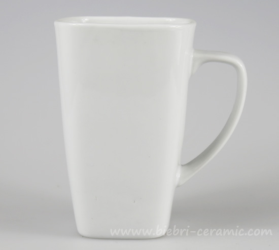 350ml Unique Square Shape Ceramic Porcelain Plain White