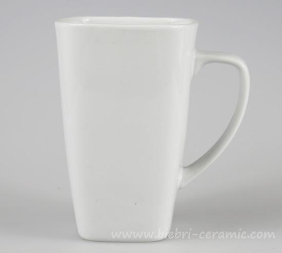 Unique Shaped Coffee Mugs 350ml unique square shape ceramic porcelain plain white tall