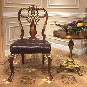 Classic Vintage Handmade Royal Victorian Style Gilded Wood Chair With  Tufted Leather Seating Cushion BF12 08304c