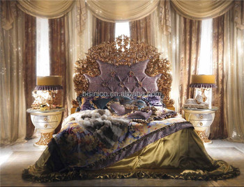 World Treasure Italian Antique Fashional Bedroom Furniture/Ornate Elegant  Floral Design Carved Wooden and Brass Bedroom King Bed, View Floral Design  ...