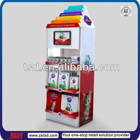 TSD-M386 custom metal pos unit with LCD monitor/pet food display stand/pet store equipment