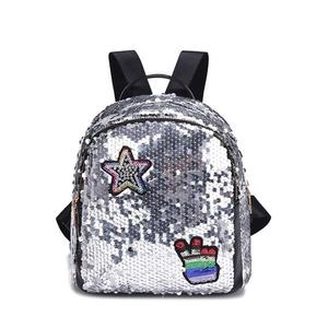 custom shining sequin backpack bag school with logo
