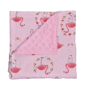 infant baby soft cotton receiving Blanket newborn baby girls boys floral print minky bubble dot blanket
