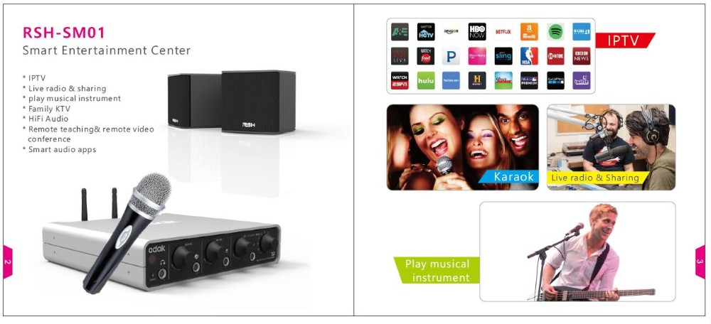 Nuovo per Smart TV Box Media Center Home Theater k Canto con Strumenti Musicali/Chitarra IPTV Box 4 Altoparlanti e Subwoofer