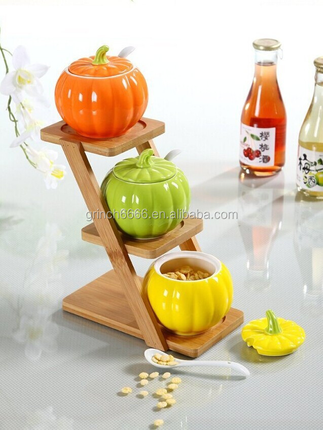 New decorative fruit and vegetable shaped ceramic spice jar with wooden shelf buy ceramic - Decorative fruit jars ...