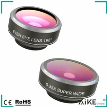 Amazon Hot Selling 3 in 1 Lens Kit 198 Degree Fisheye/0.63X Wide Angle/ 15X Macro Mobile Phone Camera Lens Kit