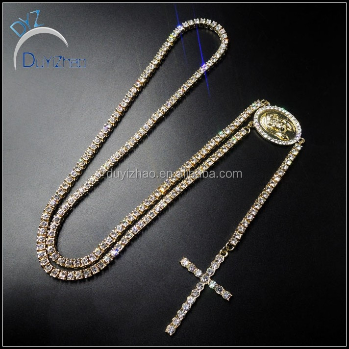 yiwu factory custom wholesale latest designs hip hop rosary necklace bling  bling gold rosary necklace a421d0451
