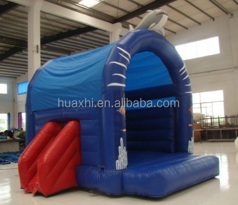 PVC Material Small Blue Ocean Theme Rock Inflatable Bouncer With Slide For Sale