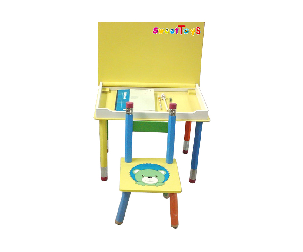 Tables and chairs cartoon - Children S Clamshell Cartoon Wood Study Tables And Chairs Set