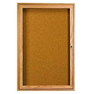 "Enclosed Wall Mounted Bulletin Board Frame Color: Walnut Stain, Number of Doors: One, Size: 24"" H x 18"" W"