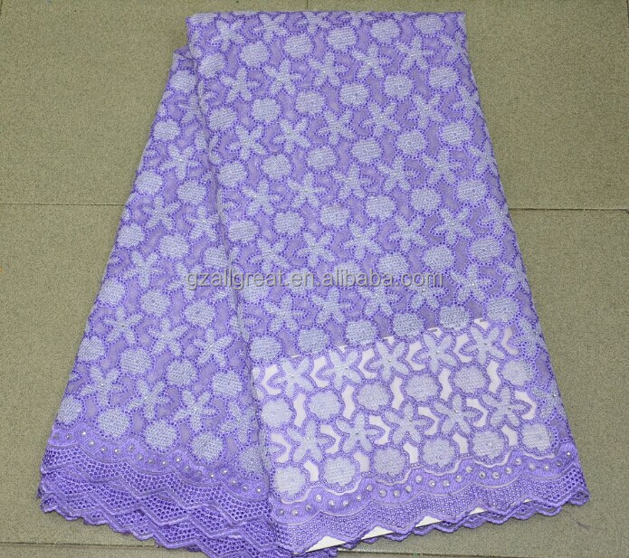 Best quality organza lace/High quality purple organza lace