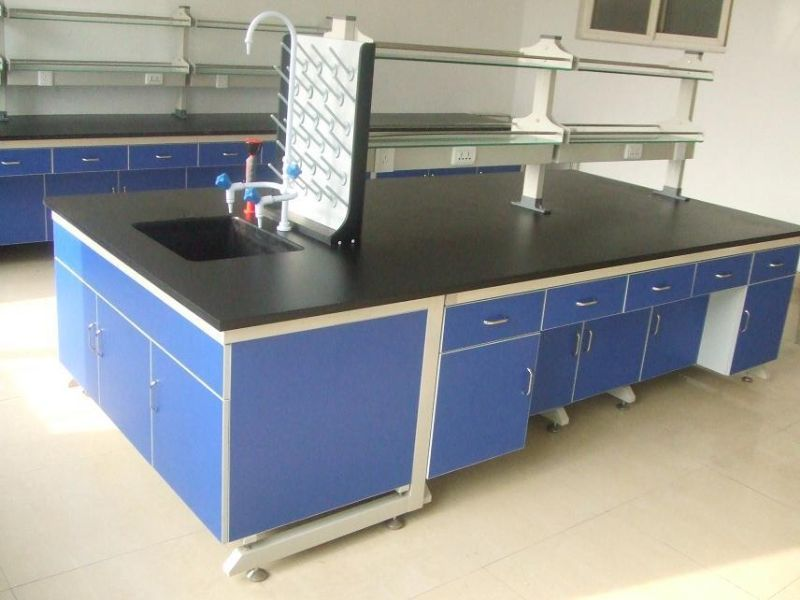 Electrical Test Bench Steel Wood Laboratory Island Bench