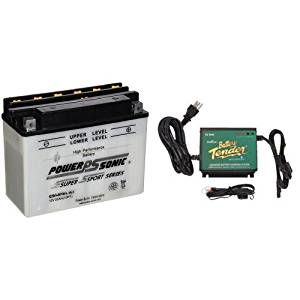 Power-Sonic C50-N18L-A3 Conventional Powersport Battery and Battery Tender 022-0157-1 Waterproof 12 Volt Power Tender Plus Battery Charger Bundle