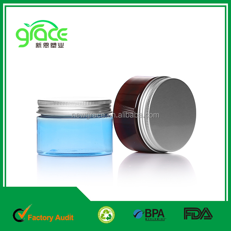80ml 100ml 120ml 150ml 250ml 300ml 500ml empty round PET amber blue plastic aluminium cap cosmetic cream jar