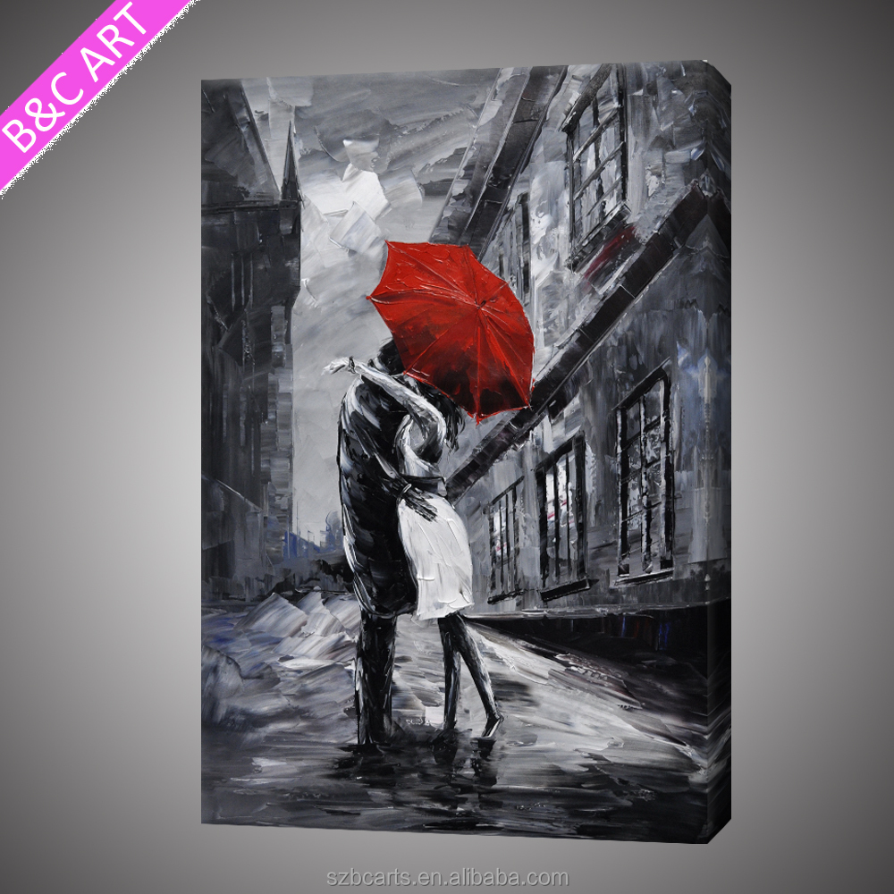 Home Decoration Wall The Rain Kissed Abstract Oil Painting Hand With Wooden Photo Frame