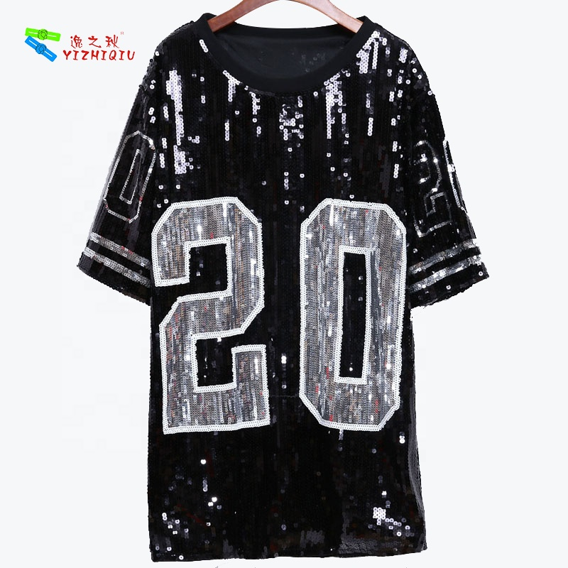 YIZHIQIU Blue Sorority Stage Performance Clothing Number 20 T Shirt Dress Sequins T Shirt