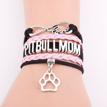 Fashion Dog Paws Pit Bull Mom Woven Leather Bracelets For Women