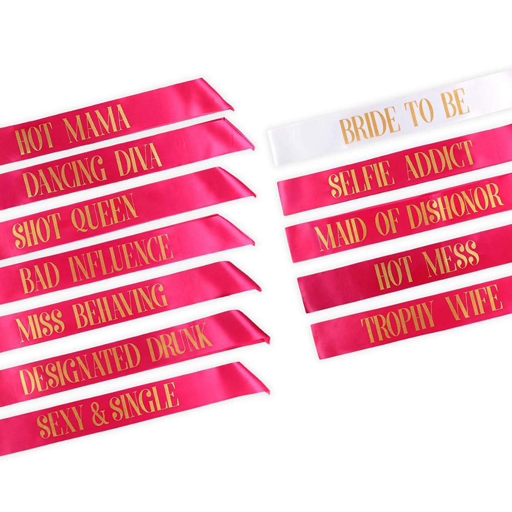 Most welcomed gold lettering printing wedding bride sash rose satin beauty pageant sash