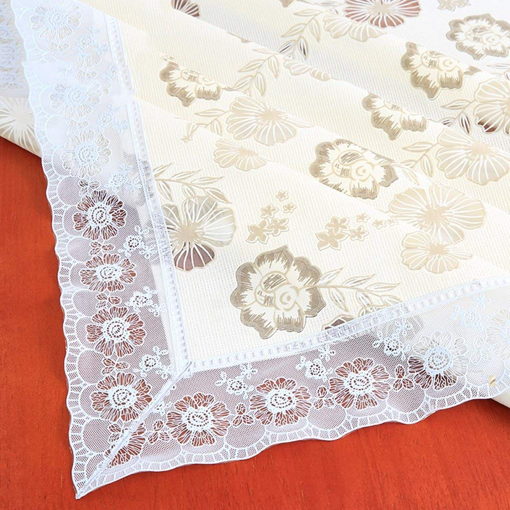 @home tablecloth With Lace Tablecloths Waterproof And Oil-free Disposable Pvc Tablecloth Rectangular Plastic Coffee Table Fabric European Pastoral Living Room (Color : C, Size : 90150cm)