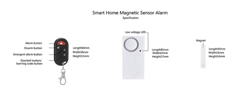 Smart Home Magnetic Window Door Motion Sensor Alarms Wireless Remote Control Alarm