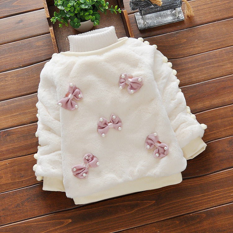 newborn baby fashionable clothing baby bow fur sweater for sale