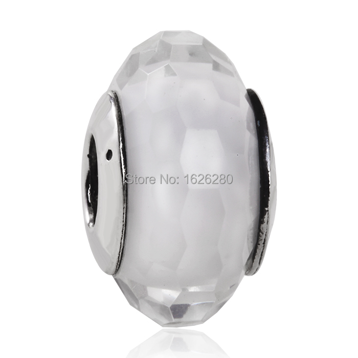 Suitable For Pandora Style Bracelets White Faceted Silver Murano Glass Beads 925 Sterling Silver DIY SHEALIA Jewelry MG047