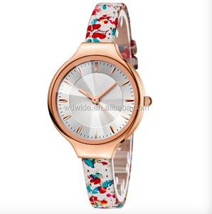 New leather watch band flowers leisure quartz Lady watches