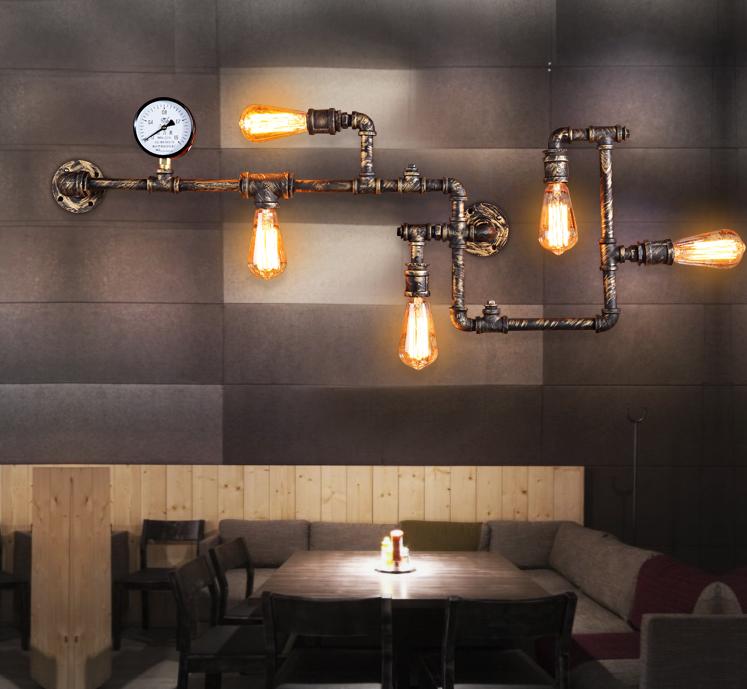 5 tuyau 5 ampoule vintage edison industrielle - Lampe murale industrielle ...
