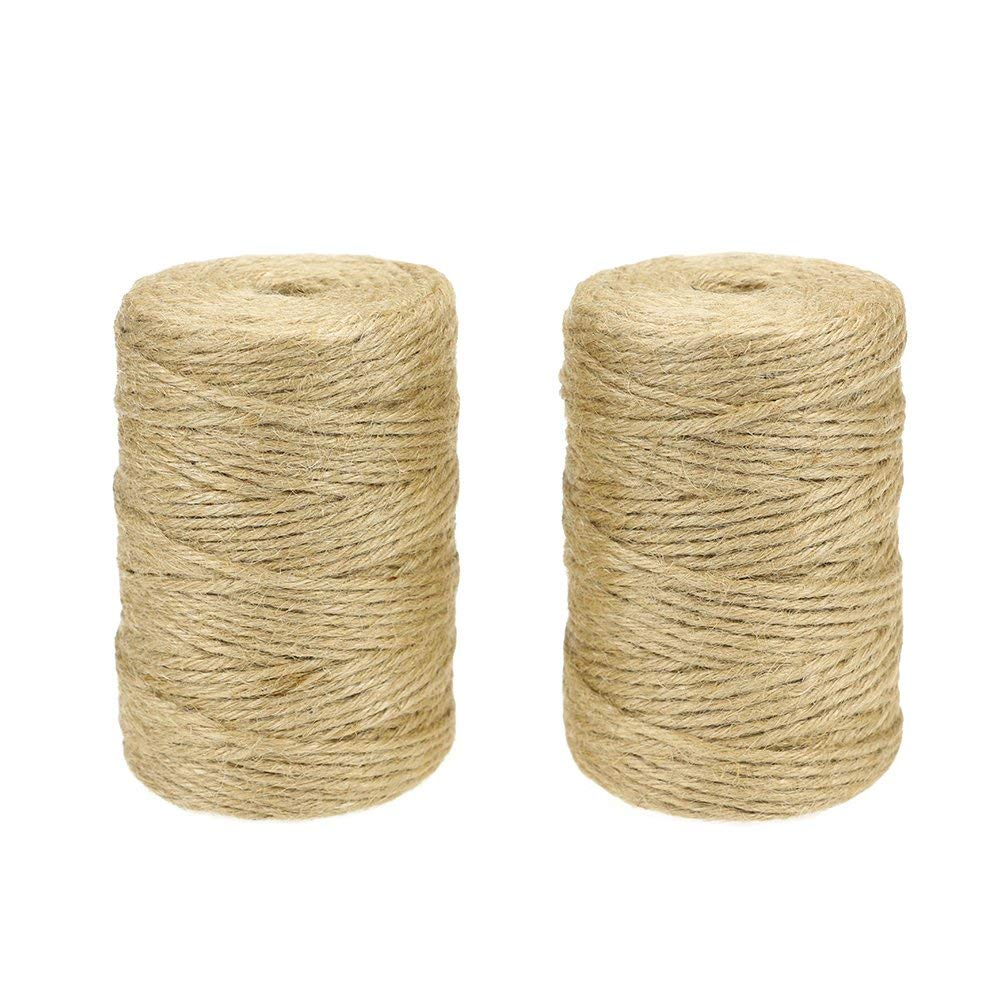 GooGou 600 Feet Natural Jute Twine Crafts Gift Rope Packing String for Festive Decoration,Gardening,Gifts,DIY Crafts,Wedding,Bundling (3mm,2Rolls x 300feet)
