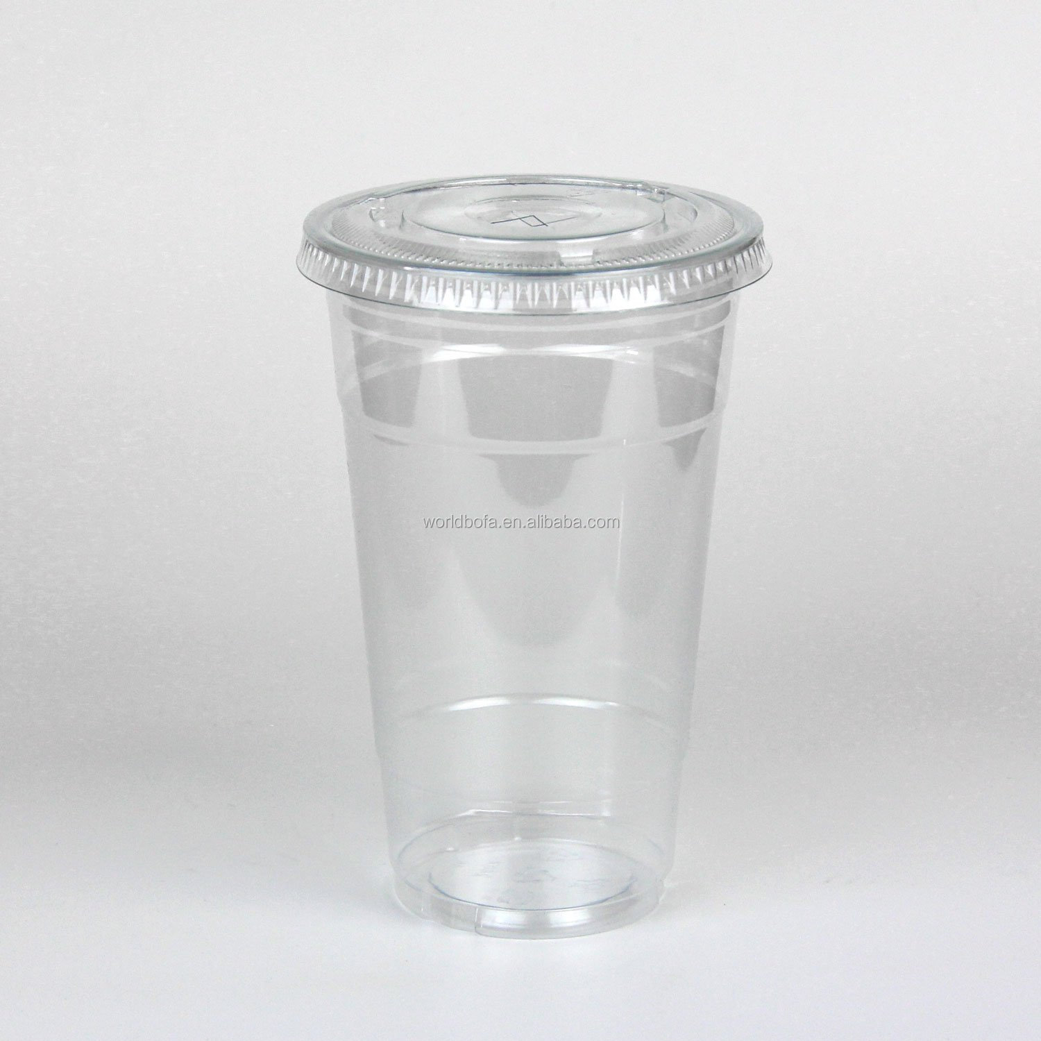 Disposable Plastic Cups With Flat Slotted Lids for Iced Cold Drinks
